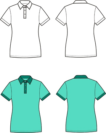 Vector illustration of women s polo t-shirt  Front and back views Stock Vector - 20181835