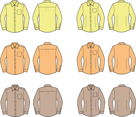 Vector illustration of men s and women s shirts  Different colors Vector