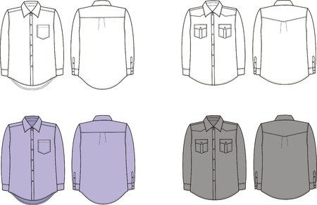 cuff: Vector illustration of men s shirts  Front and back views