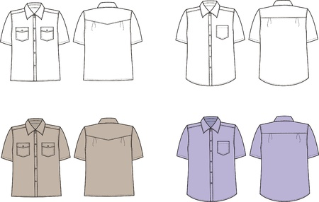Vector illustration of men s shirts  Front and back views Stock Vector - 20181854