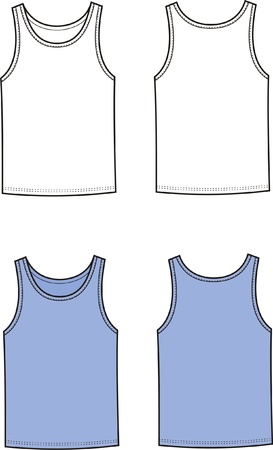 Vector illustration of men s singlet  Front and back views Stock Vector - 20181829