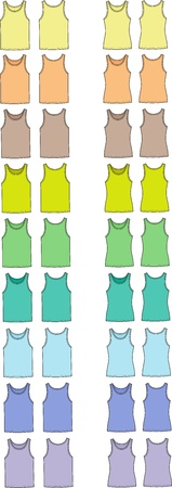 Vector illustration of men s and women s singlets  Front and back views  Different colors Stock Vector - 20181885