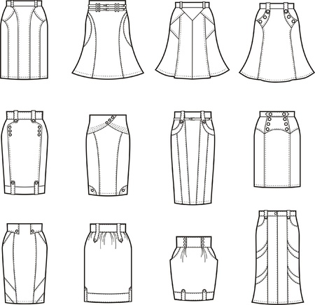 jupe jeans: Vector illustration de jupes Illustration
