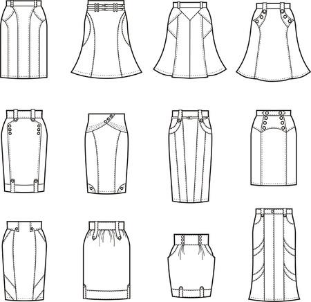 denim skirt: Vector illustration of skirts