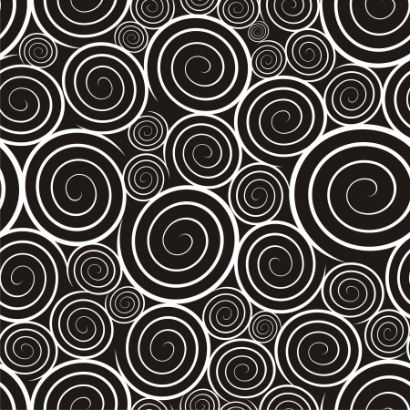 black and white image: Vector illustration of seamless pattern with spirals