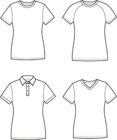 Vector illustration of women s t-shirts