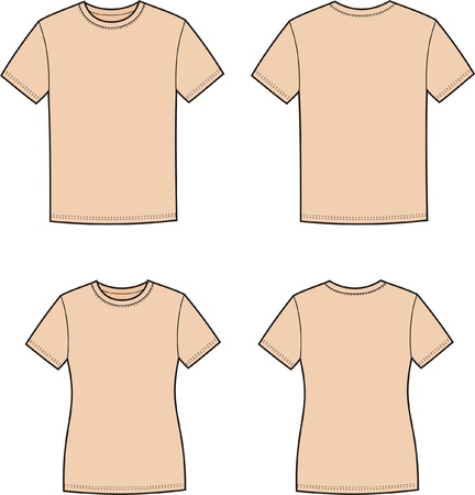 Vector illustration of men s and women s t-shirts  Front and back views Stock Vector - 20181833