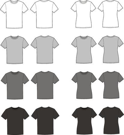 벡터 남성들과 여성의 t-셔츠 전면의 그림 및 후면보기 다른 색