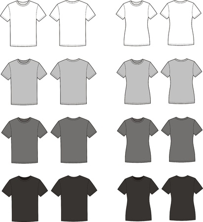 Vector illustration of men s and women s t-shirts  Front and back views  Different colors Иллюстрация