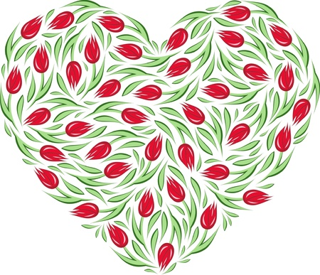 illustration of a heart with tulips Vector