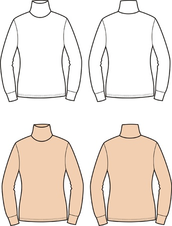 Vector illustration of women s turtleneck  Front and back views Vector