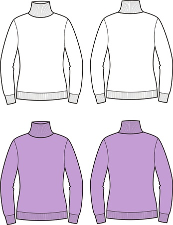 Vector illustration of women s sweater  Front and back views Vector