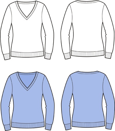Vector illustration of women s jumper  Front and back views Stock Vector - 20222065