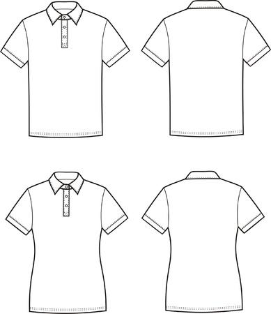 남성의 여성의 폴로 티셔츠 전면 및 후면보기의 벡터 일러스트 레이 션