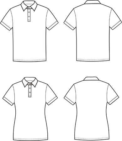Vector illustration of men s and women s polo t-shirts Front and back views