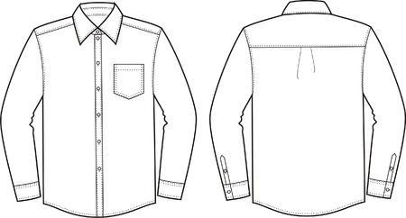 Vector illustratie van de mannen s shirt Voor-en achterzijde uitzicht