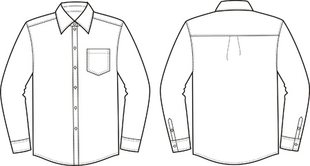 suit  cuff: Vector illustration of men s shirt  Front and back views Illustration