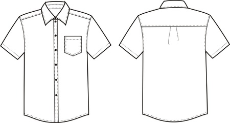 Vector illustration of men s shirt  Front and back views Vettoriali