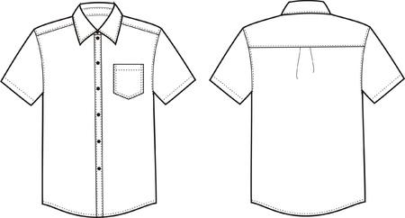 Vector illustratie van mannen overhemd Voor-en achterzijde uitzicht Stock Illustratie