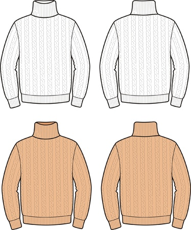 Vector illustration of men s sweater  Front and back views Vector