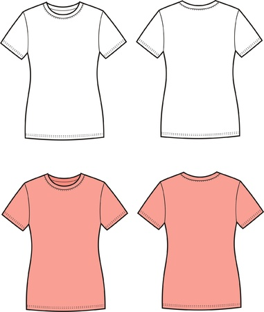illustration of women s t-shirt  Front and back views Vector