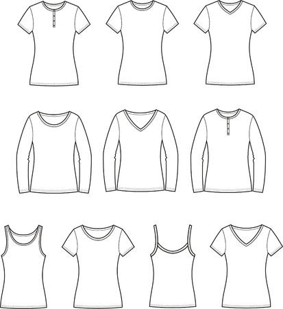 t shirt model: Illustrazione vettoriale Set di donne s t-shirt anteriore e posteriore Vettoriali
