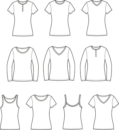 Vector illustration  Set of women s t-shirts  Front and back views