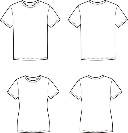 男性と女性の s のイラスト t シャツ前面および背面ビュー