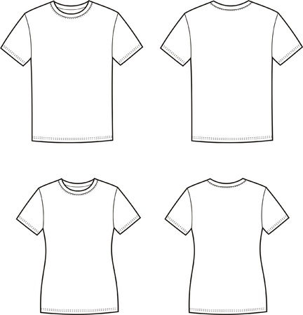 illustration of men s and women s t-shirts  Front and back views Stock Vector - 20221740