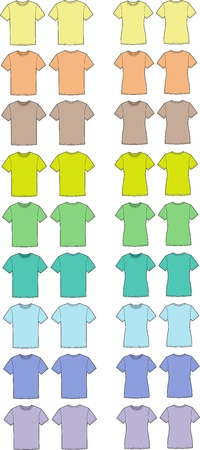 Vector illustration of men s and women s t-shirts  Front and back views  Different colors Stock Vector - 20221714