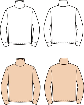 winter clothing: Vector illustration of men s turtleneck  Front and back views