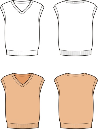 men s: Vector illustration of men s vest  Front and back views Illustration