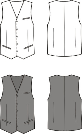 Vector illustration of men s business vest  Front and back views Stock Vector - 20221736