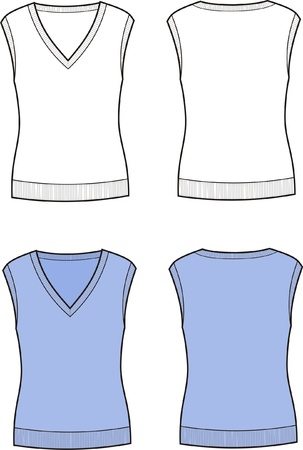 Vector illustration of women s vest  Front and back views Stock Vector - 20221742