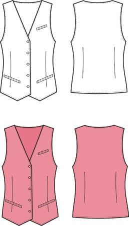 Vector illustratie van vrouwen zakelijke vest Voor-en achterzijde uitzicht