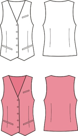 Vector illustration of women s business vest  Front and back views