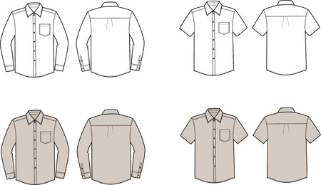 Vector illustration of men s shirts  Front and back views