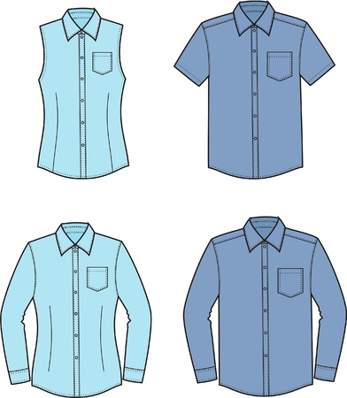 Vector illustration of men s and women s shirts  Front and back views Vettoriali