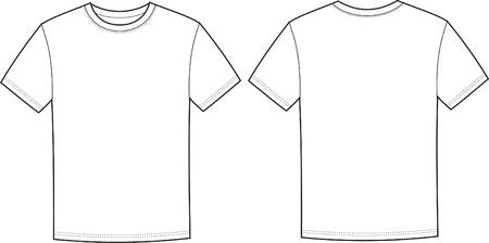 t シャツの前面と背面の図