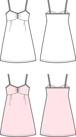 jungen unterwäsche: Vektor-Illustration der Frauen s Sommer romantisches Kleid vorne anf Rückseite Blick