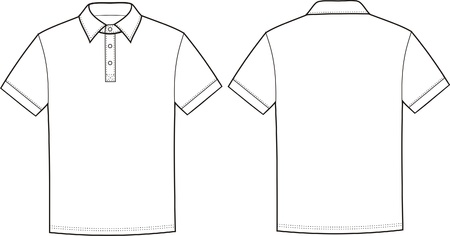 tee shirt: Vector illustration of polo t-shirt  Front and back views