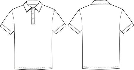 Vetorial, ilustração, de, polo, t-shirt frente, e, costas, vistas