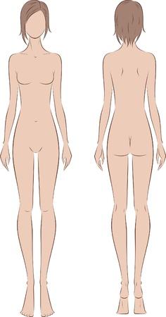 mujer desnuda de espalda: Ilustraci�n vectorial de las mujeres s estilo figura silueta frontal y trasera puntos de vista Vectores