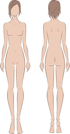 naked woman back: Vector illustration of women s fashion figure  Silhouette  Front and back views