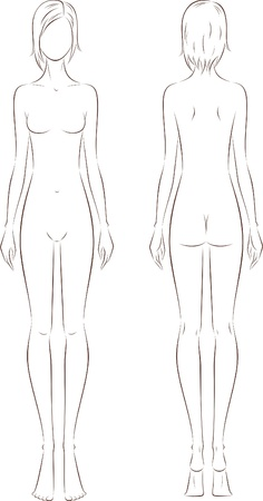 Vector illustration of women s fashion figure  Silhouette  Front and back views