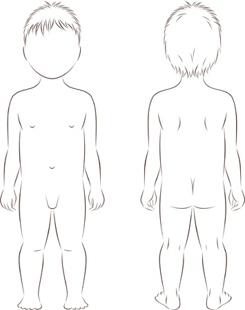 nackter junge: Illustration des Kindes s Abbildung Silhouette Vorder-und Rückseite Blick Illustration