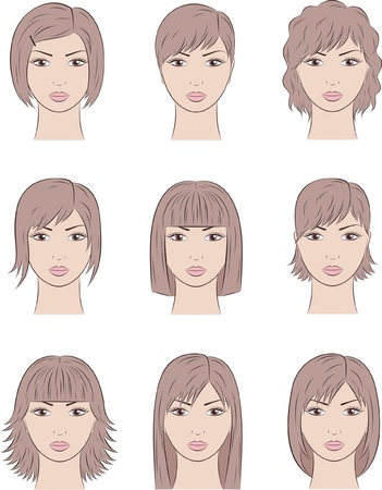 illustration of women s faces  Different hairstyles