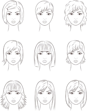 cosmetology: illustration of women s faces  Different hairstyles
