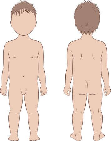 nude mann: Illustration von Kinder s Abbildung Silhouette Vorder-und R�ckansichten Illustration