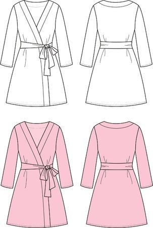 illustration de la robe de chambre le Front des femmes et des vues de dos Vecteurs